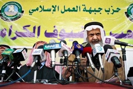 ordan's Muslim Brotherhood leader Hammam Saed speaks during a news conference with the group's Islamic Action Front Part