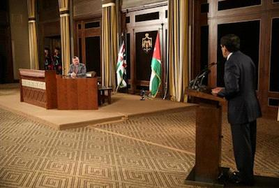Lower House Speaker Saad Hayel Srour addresses King Abdullah during Sunday's meeting in Royal Court
