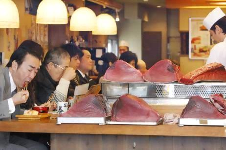 Blocks of Blue Fin Tuna at a sushi restaurant in Tokyo (AP - Koji Sasahara)