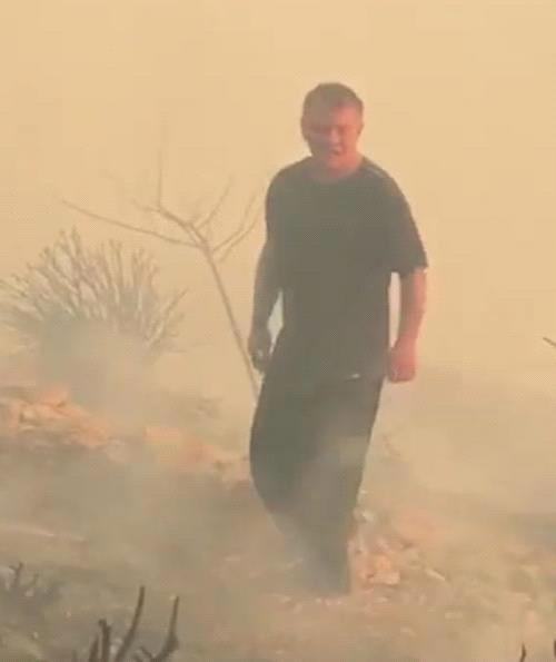 Король Иордании помог потушить пожар