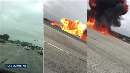 Small plane crashes on 405 freeway outside Los Angeles